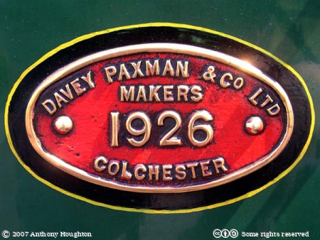 RH&DR,Romney Hythe and Dymchurch Railway,Miniature,Narrow Gauge,Typhoon,Steam Engine,Locomotive,Makers Plate