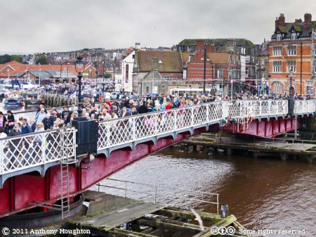 Swing Bridge Crowds,Whitby,Houses