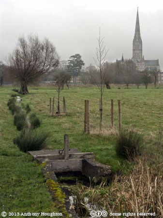 Salisbury Cathedral,Town Path,Water Meadows,Sluce